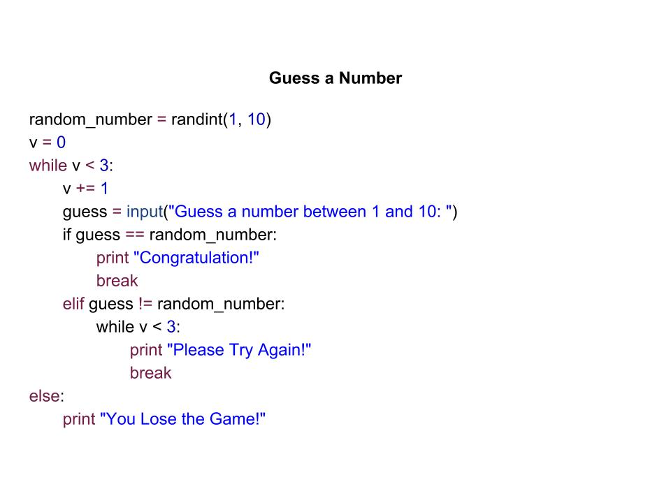 Guess a Number Game – Python – Viriya